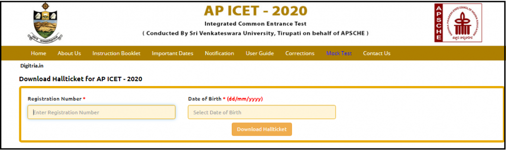 AP ICET Hall Ticket details