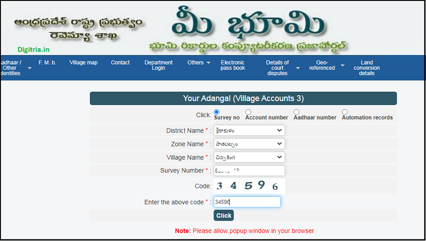 enter adangal details