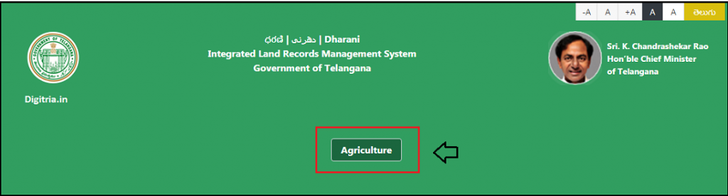 Click on Agriculture at Dharani Telangana Portal