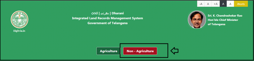 Click on non- agriculture on Dharani Telangana Portal
