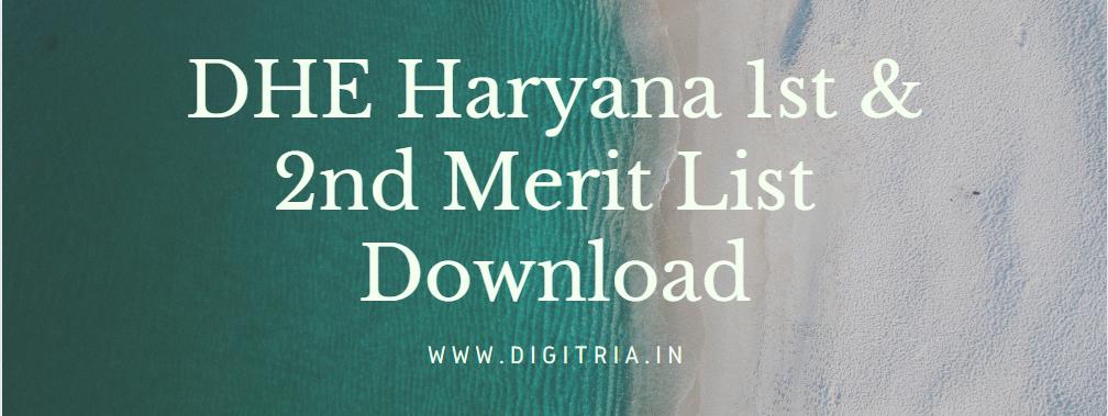 DHE Haryana 1st Merit List 2020