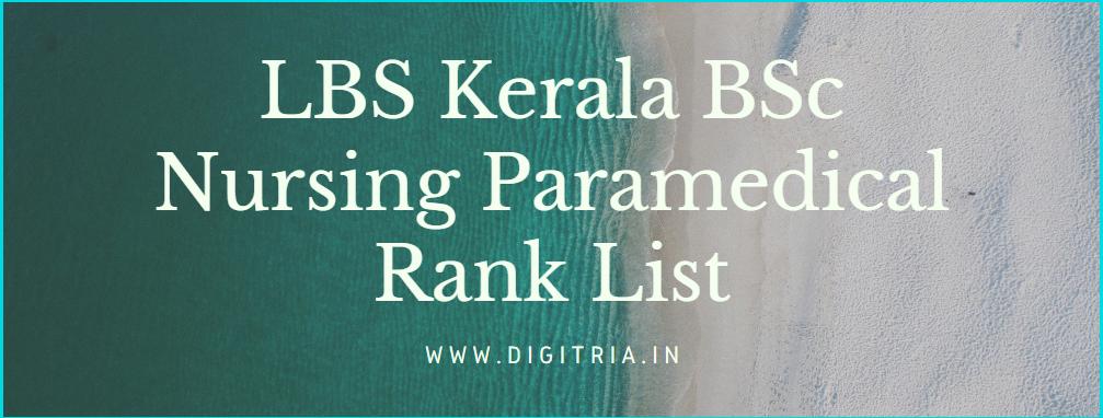 LBS Kerala BSc Nursing Paramedical Rank List