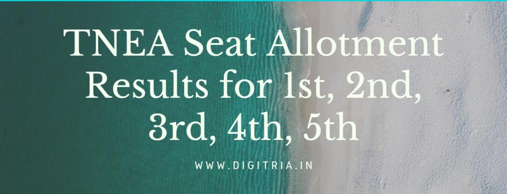 TNEA Seat Allotment Results