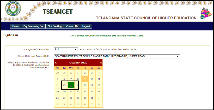 TS EAMCET Slot Booking 2020 dates timings
