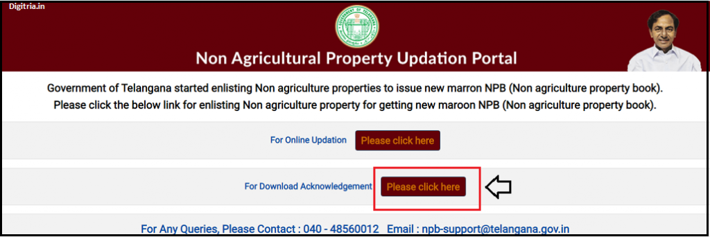 Telangana Dharani NPB Registration Acknowledgment Section