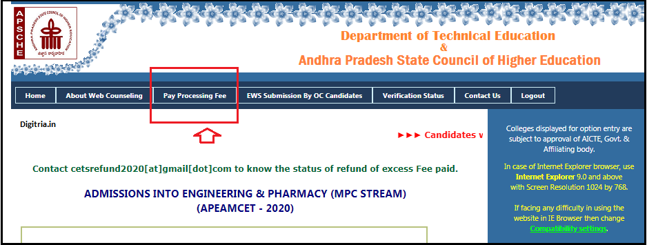 click on Pay processing fee