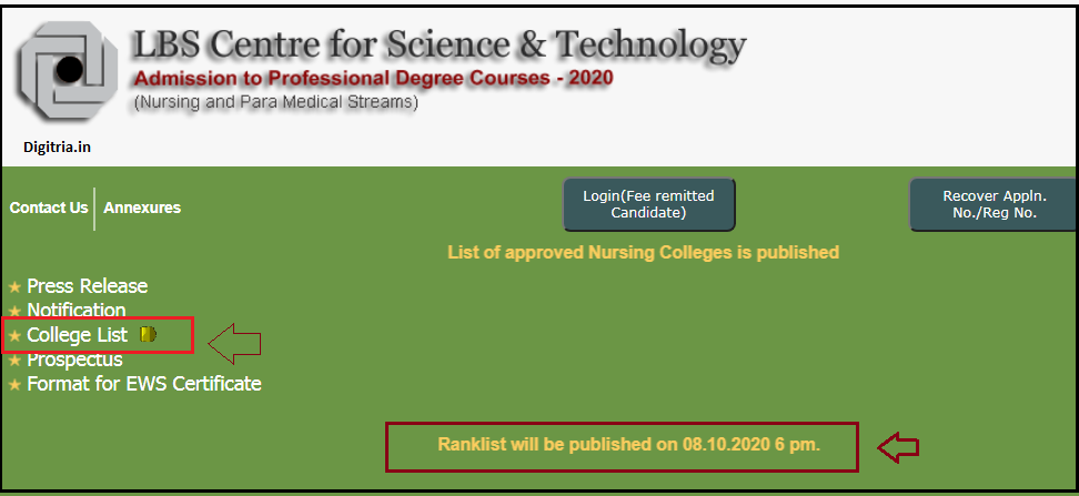 college list and rank list