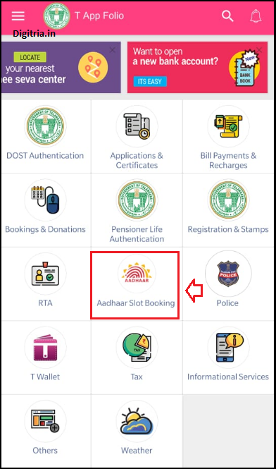 Click on Aadhaar Slot booking