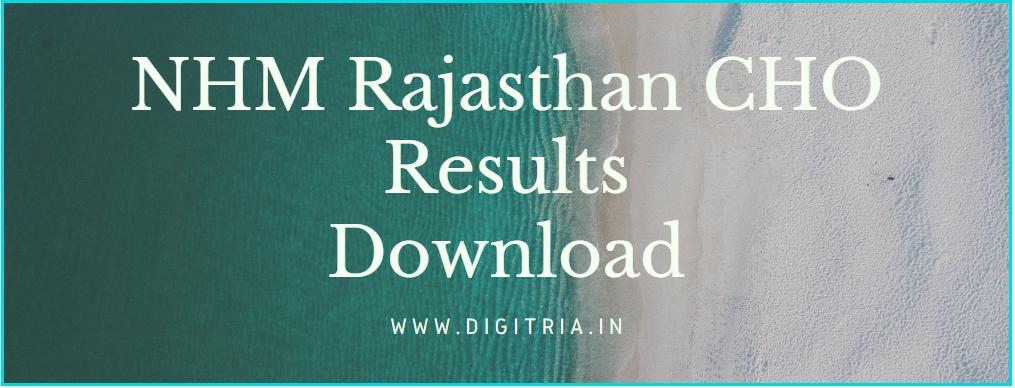 NHM Rajasthan CHO Results