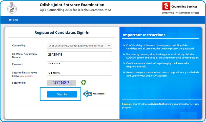 OJEE Seat Allotment Results page