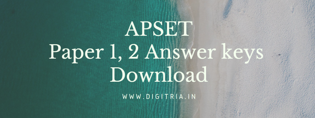 APSET Answer key 2020