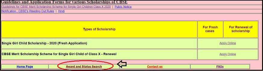 Check Award and Status Search