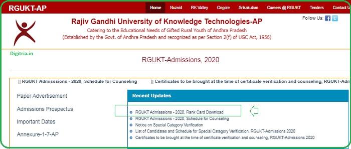 RGUKT CET Admissions- 2020 Rank Card