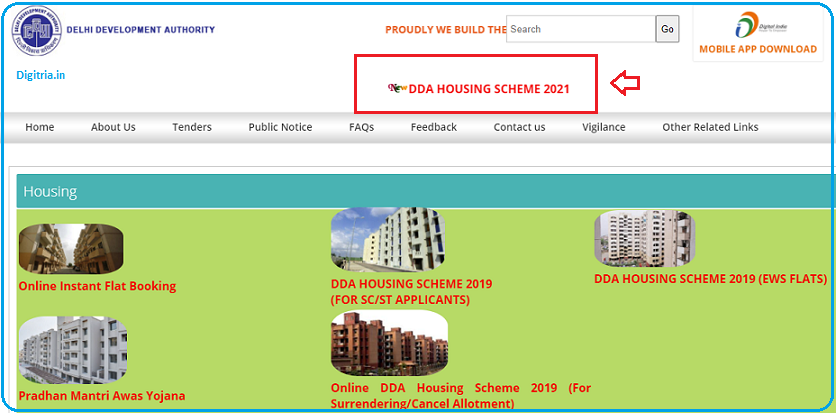Click on DDA Housing scheme