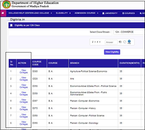 Check eligibility details at Epravesh Portal