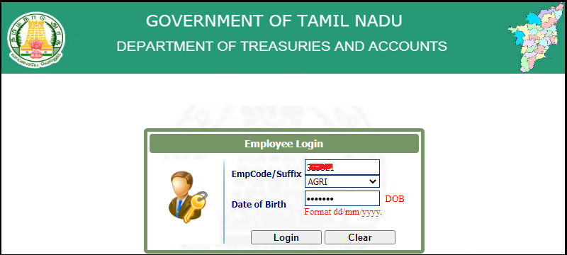 TN Payslip Login enter details