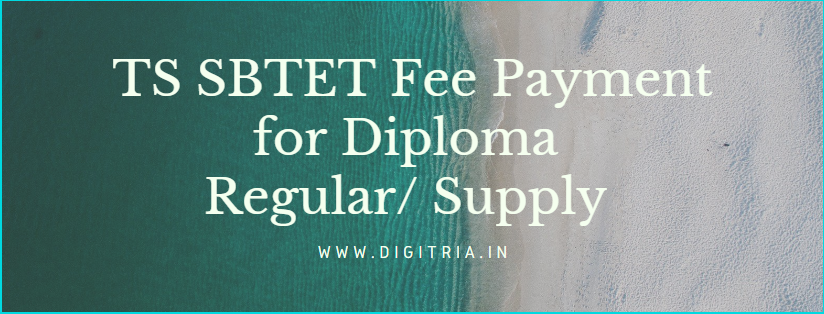 TS SBTET Fee Payment