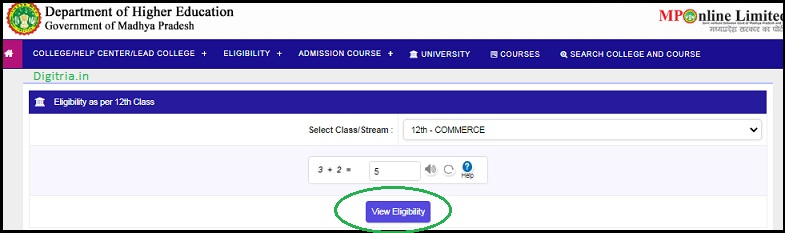 Click on the View Eligibility and