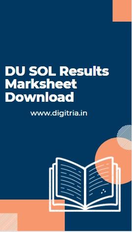 DU SOL Results Marksheet