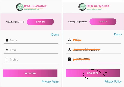 register page of RTA m wallet app