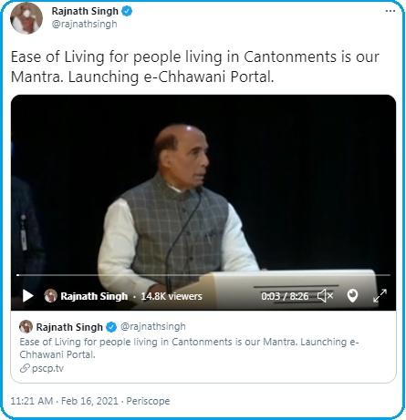Rajnath Singh Official tweet