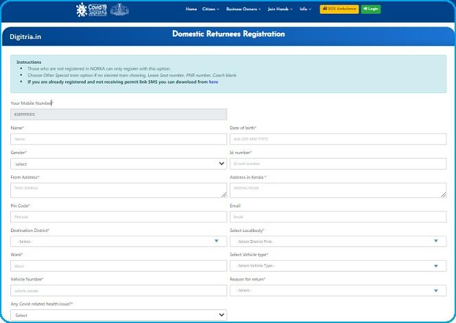 Kerala covid19 epass Registration Form