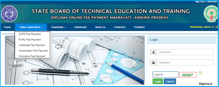 AP SBTET Diploma Revaluation Result home page