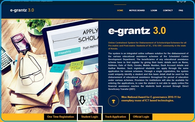 Click on Student Login page