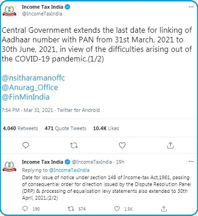 Income tax India Official Tweet: