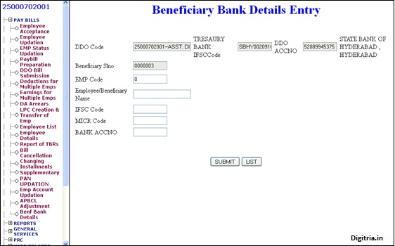 Benf Bank Account number entry