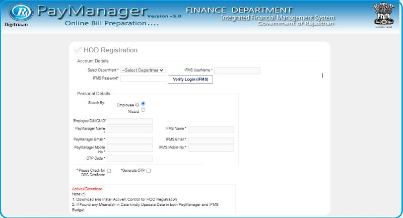 HOD registration Form