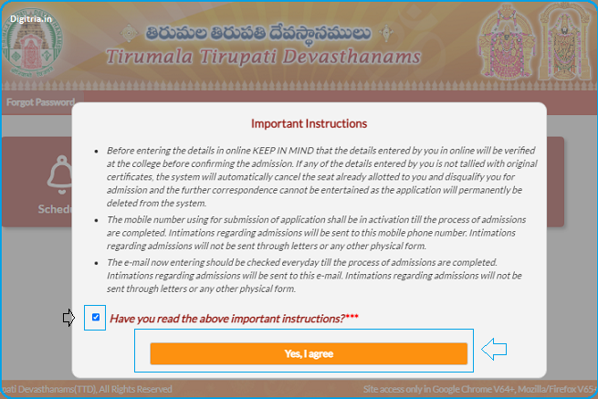 again click i accept of TTD Junior College admissions home page
