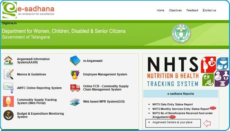 e sadhana Telangana home page