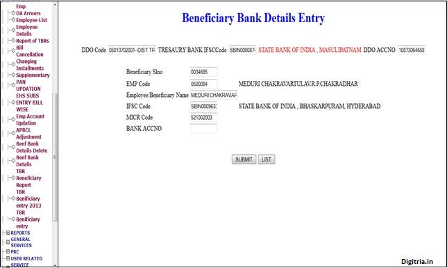 enter bank details here