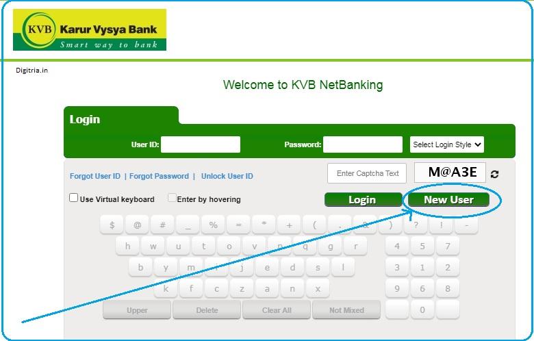 new user of KVB netbanking Login