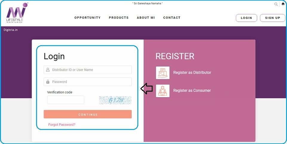enter details on the Mi Lifestyle Login page