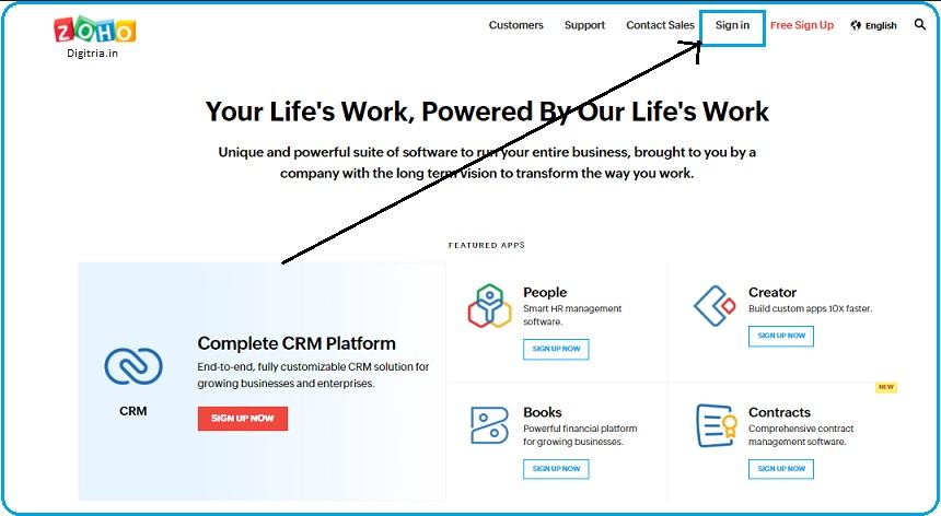 Zoho CRM Login home page