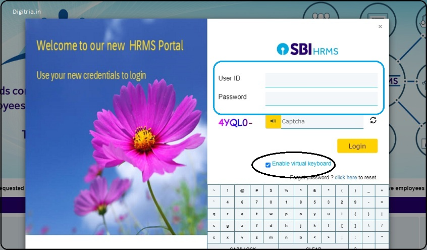 login page of HRMS