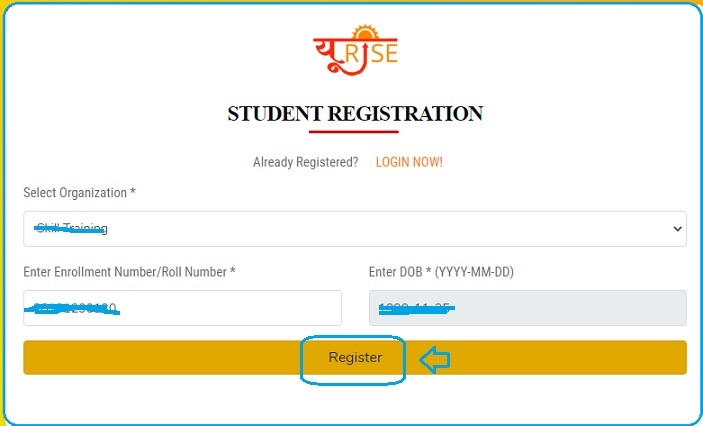 click on register button