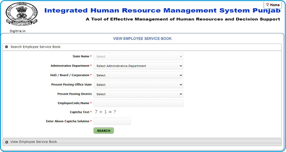search employee service book