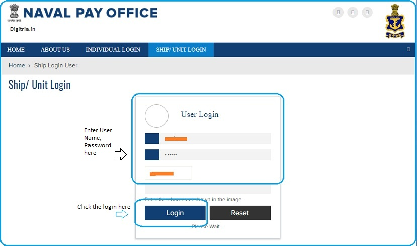 enter User name, password and hit on the Login