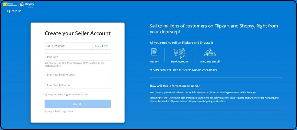 Create your Seller Account