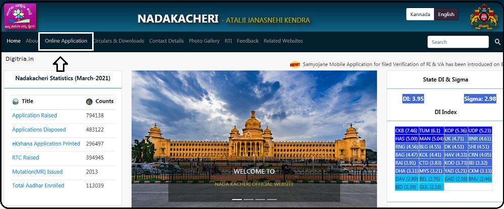 Online application of Nadakacheri CV