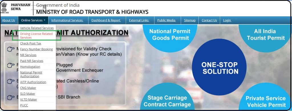 hit on the Driving License Related Services on the Sarathi Parivahan Portal