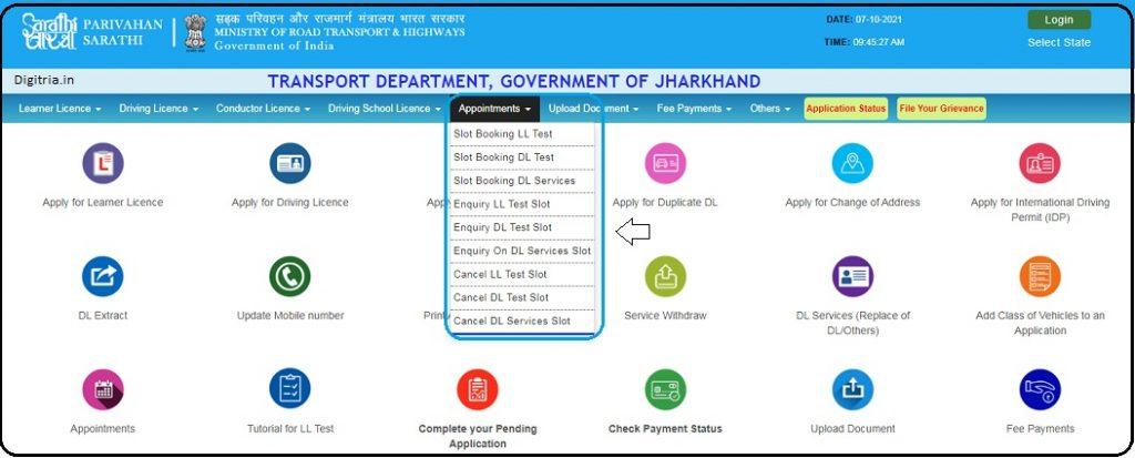 Select the Slot Services on the Sarathi Parivahan Portal
